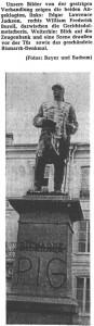 """Bismarck-Standbild mit Aufschrift """"PIG"""""""